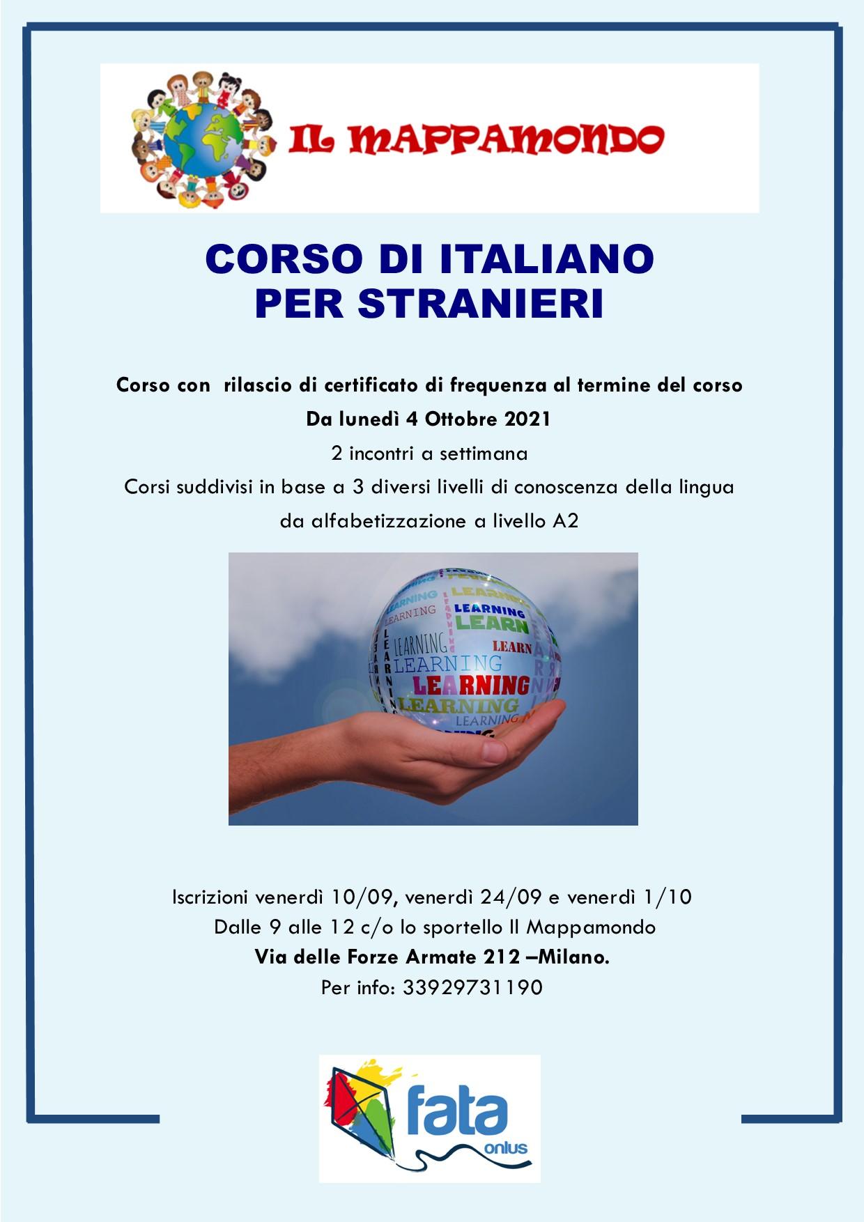 locandina corso italiano per stranieri 2021